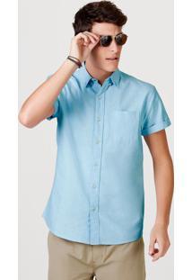 Camisa Básica Masculina Mangas Curtas Em Tecido