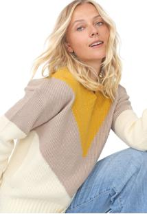 Suéter Facinelli By Mooncity Tricot Color Block Off-White/Amarelo