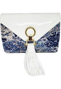 Clutch Dona Constance Floral Verniz Marfim - Bege/Floral/Off-White - Feminino - Dafiti