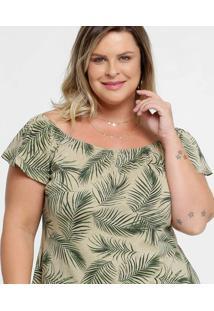 Blusa Feminina Ombro A Ombro Tropical Plus Size