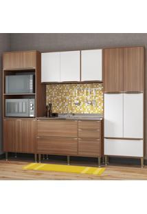 Cozinha Compacta 13 Portas 3 Gavetas 5452 Nogueira/Branco - Multimóveis