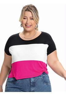 Blusa Plus Size Preta, Branca E Rosa Com Nó