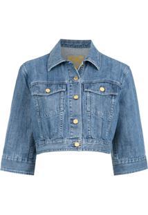 Michael Michael Kors Jaqueta Cropped Jeans - Azul