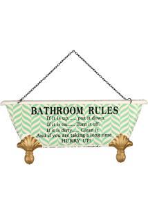Placa De Metal Decorativa Vintage Bathroom Rules