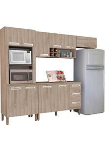 Cozinha Compacta Ametista Com Balcão 10 Portas Composição 8 Nogal - Ki