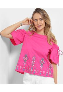 Blusa Open Shoulder Lily Fashion Com Bordado Feminina - Feminino-Rosa