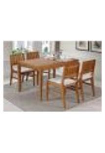 Conjunto Mesa De Jantar Angra 120 Cm Com 4 Cadeiras Estofadas-Mel
