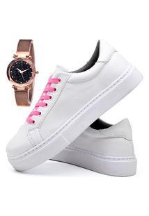 Tênis Sapatênis Casual Glamour Com Relógio Gold Feminino Dubuy 311Od Branco