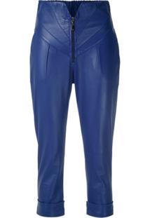 Andrea Bogosian Calça Cropped Rei De Couro - Azul