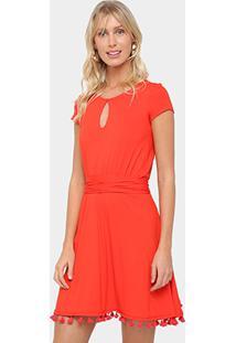 ... Vestido Malwee Evasê Curto Recorte Gota E Amarração - Feminino-Vermelho 93f3dec3c67c9