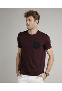 Camiseta Masculina Básica Comfort Fit Com Bolso Manga Curta Gola Careca Vinho