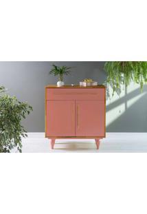 Armário De Cozinha Pequeno 2 Portas E Gaveta Sideral Nózes E Cinza Rosa Coral 90X48X98 Cm