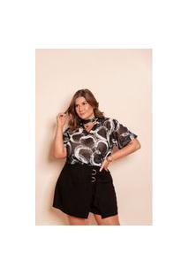 Blusa Plus Size Recorte Na Gola