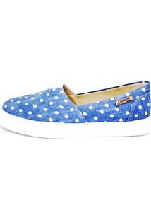 Tênis Slip On Quality Shoes Jeans Poá Feminino - Feminino-Azul