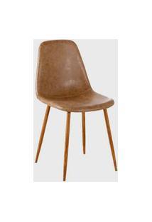 Cadeira Tania Pu Marrom Vintage Base Nogueira Rivatti