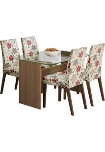 Conjunto De Mesa Com 4 Cadeiras Melrose Rustic E Hibiscos