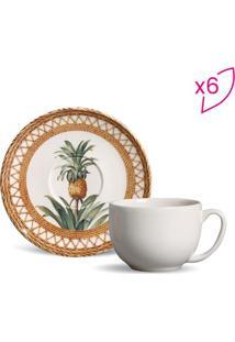 Jogo De XãCaras De Chã¡ Coup Pineapple- Branco & Verde