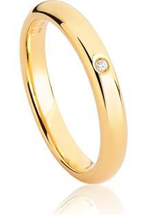 Aliança De Ouro 18K Anatômica Abaulada Polida Com Diamante (3,00Mm)