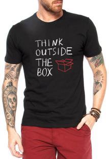 Camiseta Criativa Urbana Think Outside The Box Pense Fora Da Caixa - Masculino-Preto