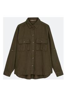 Camisa Lisa Em Liocel Com Bolsos De Lapela Curve & Plus Size | Ashua Curve E Plus Size | Verde | G