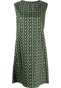 Aspesi Vestido Reto Com Estampa Geométrica - Verde