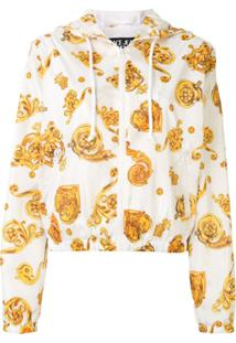Versace Jeans Couture Jaqueta Com Capuz E Estampa Barroca - Branco