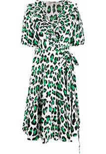 Dvf Diane Von Furstenberg Vestido Envelope Hirata Com Estampa De Leopardo - Branco