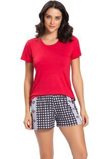 Pijama Recco Viscose Malha Touch Vermelho