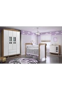 Dormitório Guar. Roupa Ariel 4Pts / Fraldário Ariel E Berço Mirelle Amadeirado Marrom/Branco