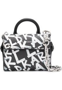 Karl Lagerfeld Bolsa Transversal Ikon Com Estampa De Grafite - Preto