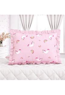 Capa Travesseiro Infantil Menina Rosa Grão De Gente Rosa