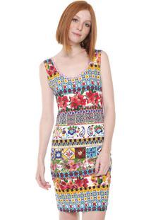 Vestido Desigual Curto Luana Off-White/Vermelho