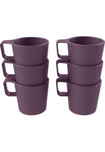 Conjunto Com 6 Canecas Empilháveis Casual Roxo Púrpura Coza