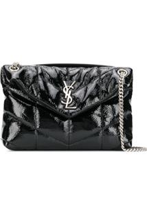 Saint Laurent Loulou Puffer Vinyl Shoulder Bag - Preto