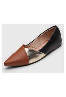 Sapatilha Dafiti Shoes Recortes Preta/Caramelo