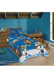 Edredom Dupla Face Toy Storyâ® Solteiro- Azul & Cinzalepper