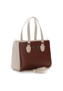 Bolsa Feminina Bicolor Santorini Handbag Creme/Marrom