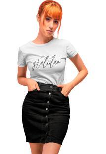 Camiseta Básica My T-Shirt Gratidão Branca