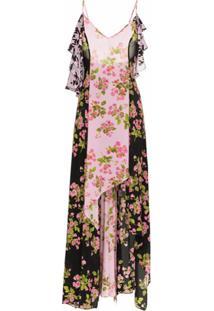 Natasha Zinko Rose Print Silk Maxi Dress - Rosa