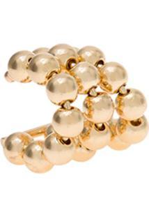 Brinco Le Briju Semijoia Piercing Pressão Triplo Bolinhas Ouro Amarelo Dourado - Kanui