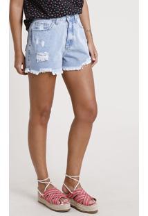 Short Jeans Feminino Cintura Super Alta Destroyed Com Barra Desfiada Azul Claro
