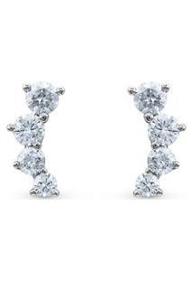 Brinco Ear Cuff Ouro Branco E Diamantes