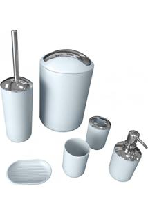 Kit Banheiro Lixeira Saboneteira Porta Escova Copo 6 Pçs - Cinza