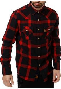 Camisa Manga Longa Masculina Gangster Vermelho