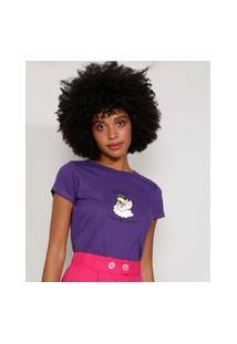 """Camiseta Feminina Manga Curta Anjo Acordei"""" Decote Redondo Roxa"""""""