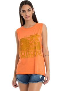 T-Shirt Moikana Estampa Com Glitter Laranja