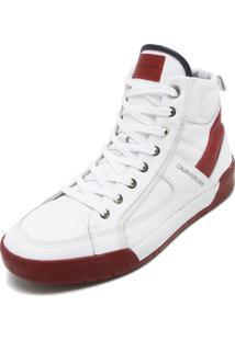 Sapatênis Couro Couro Calvin Klein Cano Médio Branco/Vermelho