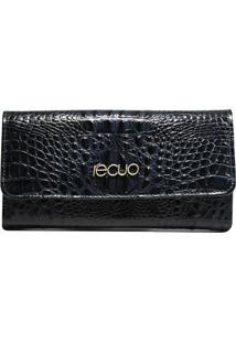 Carteira Em Couro Recuo Fashion Bag Croco Azul