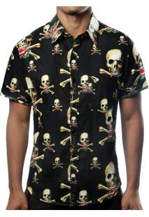 Camisa Camaleão Urbano Caveira Pirata Preta