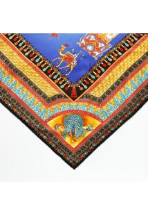 Lenço Em Seda Camelos - Preto & Amarelo - 87X88Cmversace